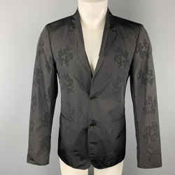 Calvin Klein Collection Size 36 Black On Black Floral Notch Lapel Sport Coat