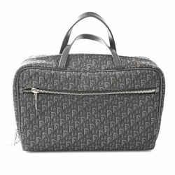 Auth Christian Dior Trotter Canvas Handbag Black