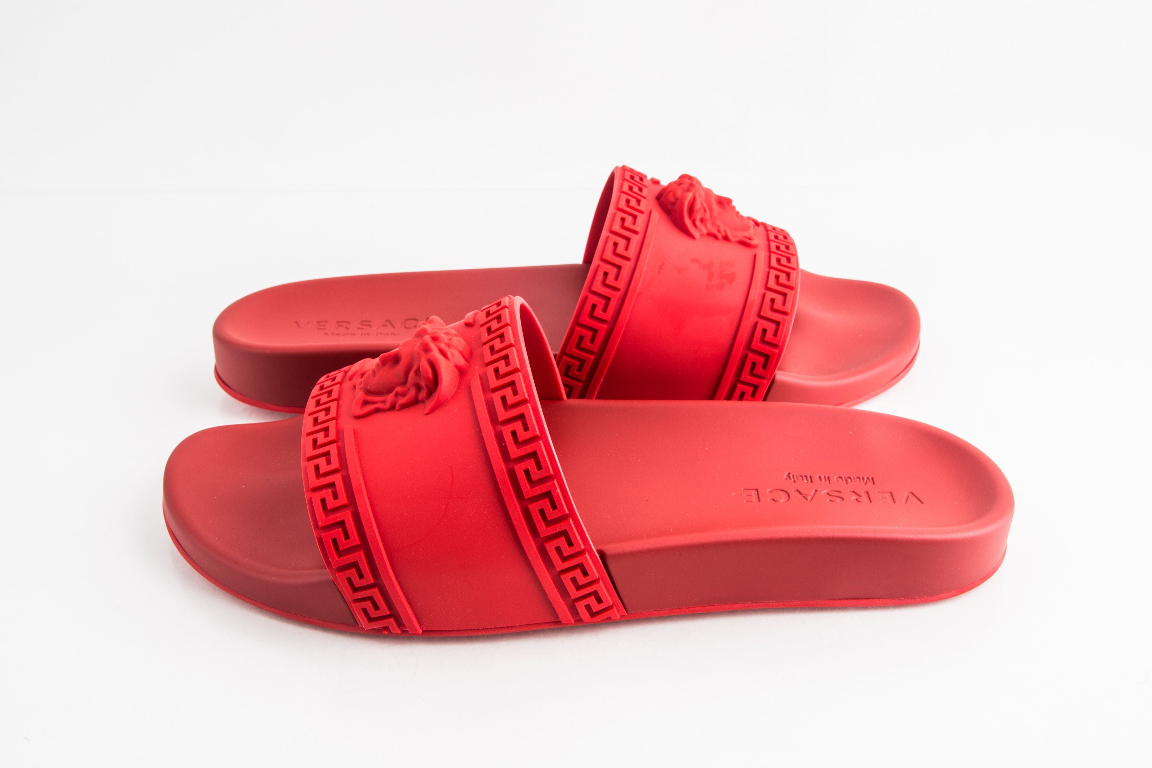 Versace Palazzo Pool Slides Red | LePrix