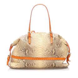 Vintage Authentic Fendi Brown Selleria Python Leather Shoulder Bag Italy