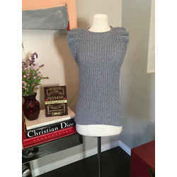 Brunello Cucinelli Size S Gray Cotton Ruffle Knit Sweater 2292-51-81120