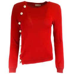 Altuzarra Red Pearl Studded Merino Wool Sweater