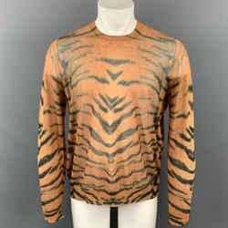 DRIES VAN NOTEN S/S 20 Size L Orange & Black Animal Print Cotton / Polyamide Pullover
