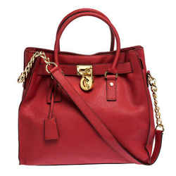 MICHAEL Michael Kors Red Leather Large Hamilton North South Tote