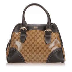 Vintage Authentic Gucci Brown Beige Vinyl Plastic GG Crystal Handbag Italy