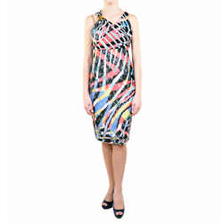sz 46 NEW $728 JUST CAVALLI Multicolor Lace Jersey Sleeveless Dress