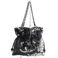 Chanel Sequin Summer Night Drawstring Tote Black