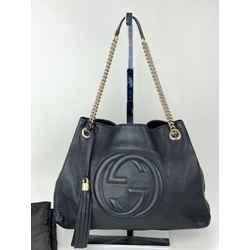 Gucci Black Medium Soho Pebbled Leather Chain Strap Shoulder Bag B270 Authentic
