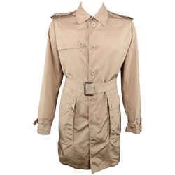 Burberry London L Khaki Solid Nylon Belted Trenchcoat