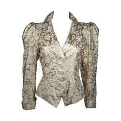 YVES SAINT LAURENT Gold Foil Jacket w/ Daisy Buttons Size 40