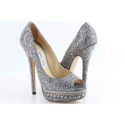 Jimmy Choo Kendall Beaded Platform Pumps Silver US-8.5 Authenticity Guaranteed