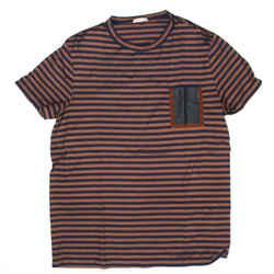 Moncler - Striped Tshirt - Brown Blue Stripe Pocket Tee  Mens US XL  Extra Large