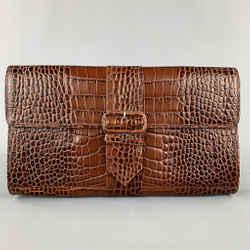 DRIES VAN NOTEN Brown Alligator Embossed Leather Clutch