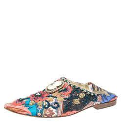 Dolce & Gabbana Multicolor Fabric Crystal Embellished Flat Mules Size 38