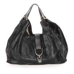 Vintage Authentic Gucci Black Calf Leather Stirrup Handbag Italy