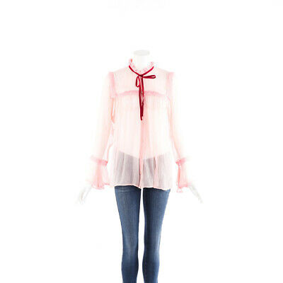 Gucci Blouse Pink Sheer Silk Chiffon Lace Bow SZ 44