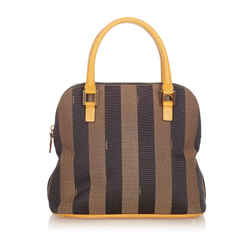 Brown Fendi Pequin Canvas Handbag Bag