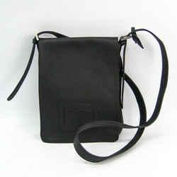 Delvaux Unisex Leather Shoulder Bag Black BF509320