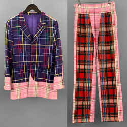 Comme Des Garcons Homme Plus Sz S Purple Red Pink Mixed Plaid Wool Docking Suit