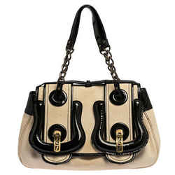 Fendi Black/Ivory Canvas and Patent Leather B Shoulder Bag
