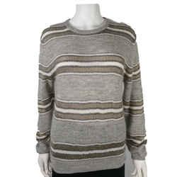 Brunello Cucinelli - Mohair Sweater Grey Metallic Stripe Knit - Large - L
