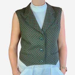 Green Notch-lapel Structured Wool Vest