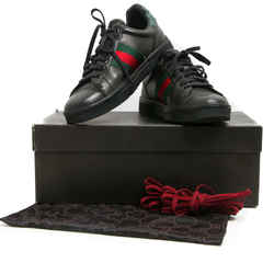 Gucci Black Leather Web Stripe Ace Sneakers