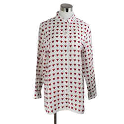 Burberry White Red Linen Hearts Top Sz 4