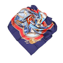 Vintage Authentic Hermes Blue  with Multi Silk Fabric Belles Amures Scarf France