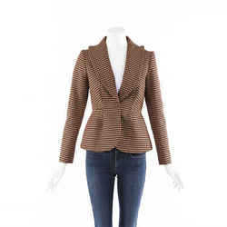 Delpozo Plaid Wool Blazer Jacket SZ 36