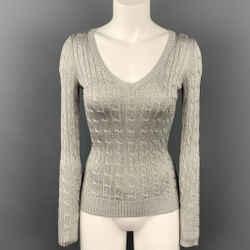 RALPH LAUREN Black Label Size XS Silver Silk Blend Pullover Sweater