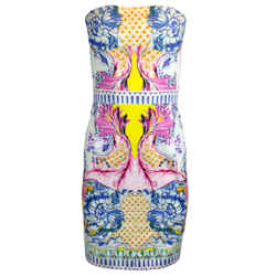 Roberto Cavalli White Strapless Multicolored Printed Cotton Mini Dress