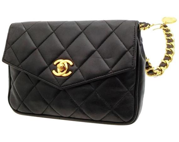 Quilted Chain Belt Flap Bag Waist Pouch 228118