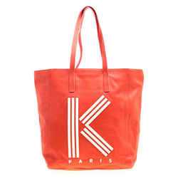 KENZO Red Leather K Logo Shopper Tote