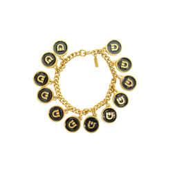 Authentic Ferragamo Gancini GP Black Omega Style Logo Bracelet GP Emblem Chain Jewelry