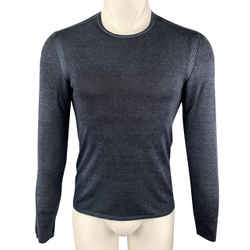 John Varvatos Size S Black & Navy Heather Silk / Cashmere Crew-neck Pullover Sweater