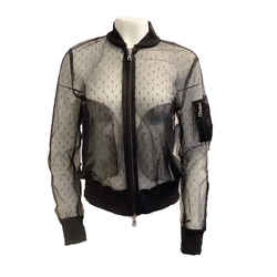RED Valentino Black Lace Bomber Jacket