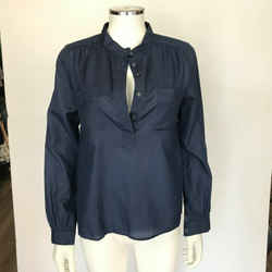 A.p.c. Blue Collared Long Sleeved Cotton Pin Stripe Blouse Size Xs