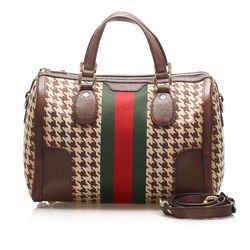 Vintage Authentic Gucci Brown Seventies Web Cotton Boston Bag Italy