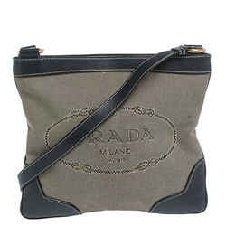 Prada Dark Blue/White Logo Jacquard Canvas and Leather Crossbody Bag