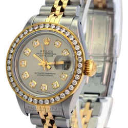 Rolex Lady Datejust Grey Diamond Dial Diamond Bezel 36mm-quickset