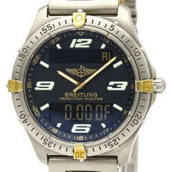 Polished BREITLING Aerospace 18K Gold Titanium Quartz Mens Watch F65062 BF522657