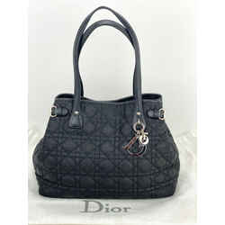 Christian Dior Cannage black coated canvas small quilted Panarea tote bag B188