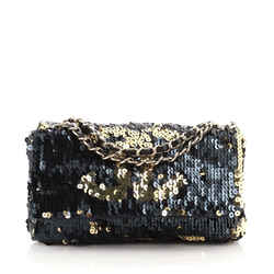 Summer Night Flap Bag Sequins with Leather Medium