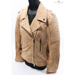 Burberry 'peakhurst' Suede Biker Beige Jacket