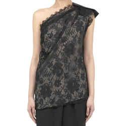 Lanvin Lace One Shoulder Black Top