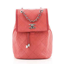 Drawstring CC Flap Backpack Quilted Aged Calfskin and Grosgrain Small
