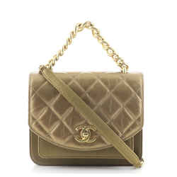 Top Handle Flap Bag Quilted Aged Calfskin and Caviar Mini