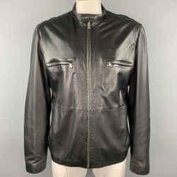 THEORY Size XXL Black Leather Zip Up Jacket