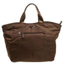 Prada Brown Tessuto Nylon Front Pocket Shopper Tote